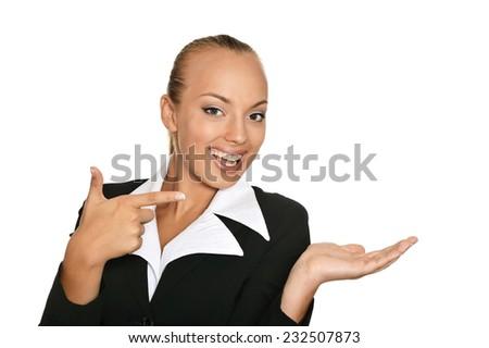 Beautiful business woman portrait on white background - stock photo