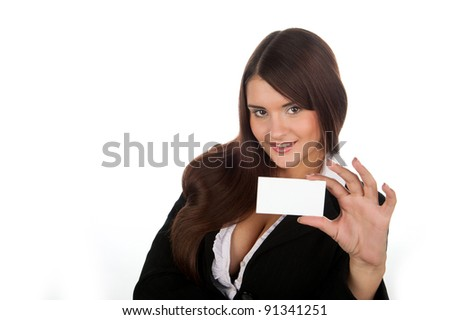 beautiful business woman posing with a business card, a beautiful business lady smiling and holding a card, a black jacket, isolated on white background - stock photo