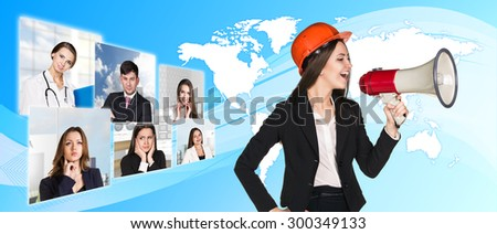 Beautiful business woman shouting through megaphone. Elements of this image furnished by NASA - stock photo