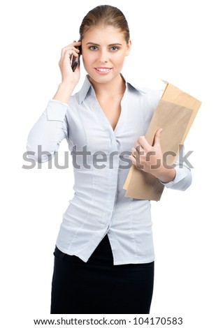 Beautiful business woman talking on cell phone, isolated on white background - stock photo