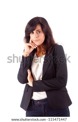 Beautiful business woman thinking - stock photo
