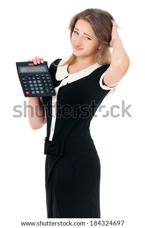 Beautiful business woman with calculator, isolated on white background  - stock photo