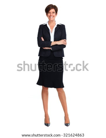 Beautiful business woman with short hairstyle isolated white background - stock photo