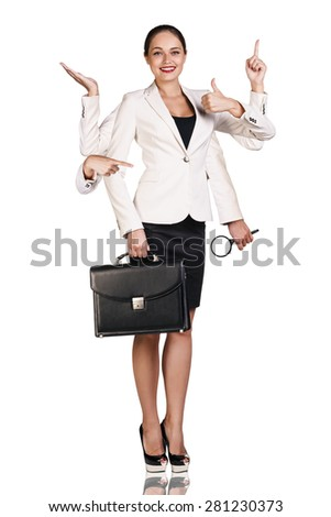 Beautiful business woman with six arms, holding magnifying glass, briefcase and showing signs - stock photo