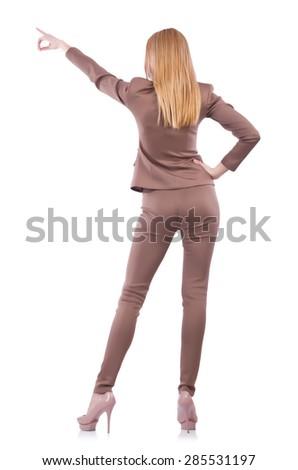 Beautiful businesslady in elegant suit isolated on white - stock photo