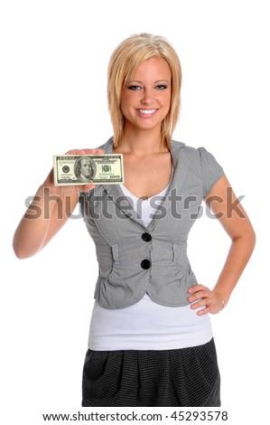 Beautiful businesswoman holding stack on money isolated over white background - stock photo