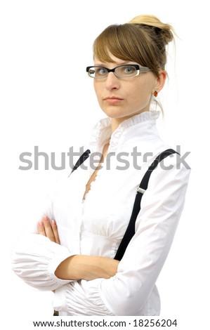 Beautiful businesswoman. isolated on white - stock photo