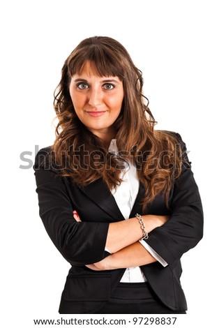 Beautiful businesswoman portrait isolated on white - stock photo