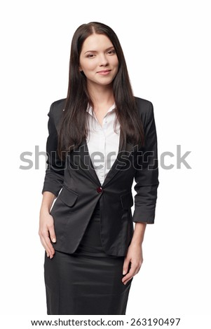 Beautiful businesswoman portrait, over white background - stock photo