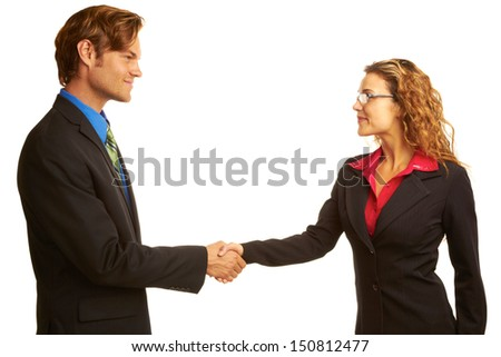 Beautiful businesswoman shaking hands with other executive over white background. Horizontal shot. - stock photo