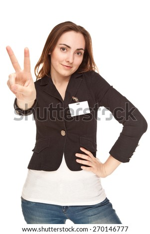 Beautiful businesswoman showing victory sign or peace isolated on white - stock photo