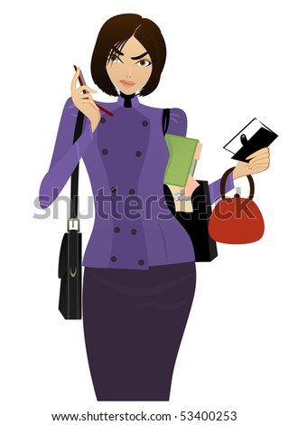 Beautiful Businesswoman speaks on the cell phone and checking her task list - stock photo