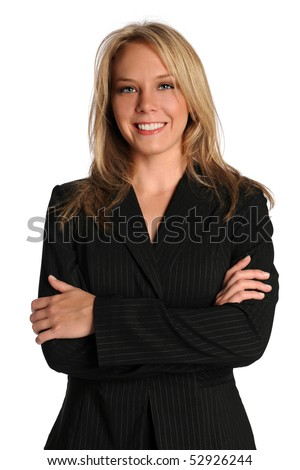 Beautiful businesswoman with arms crossed smiling over white background - stock photo