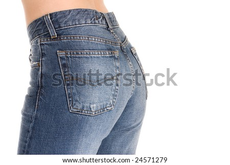 Beautiful buttocks in tight fitting jeans. - stock photo