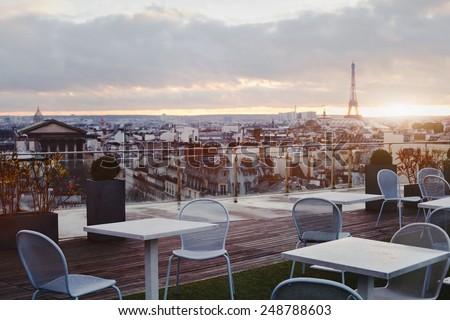 beautiful cafe in Paris - stock photo