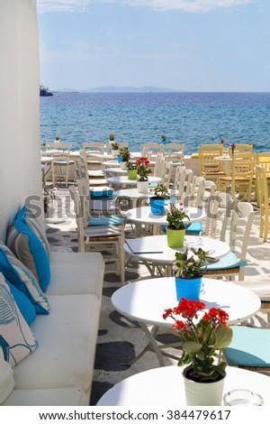 Beautiful cafeteria at the beach, on Mykonos island, Greece - stock photo