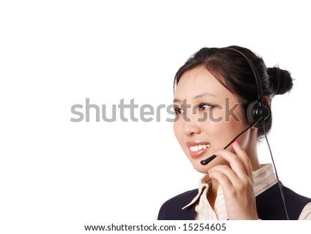 beautiful call center operator, isolated on white background. - stock photo