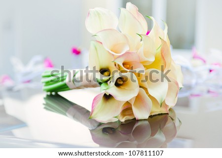 Beautiful calla lilies bouquet - stock photo