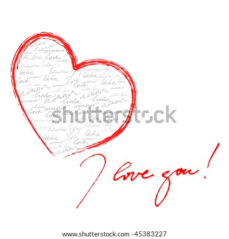 beautiful calligraphic background for valentine's day greeting card - stock photo