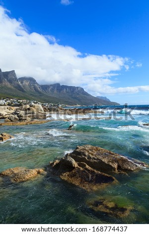 Beautiful Camps Bay Beach and Twelve Apostles Mountain Chain, Cape Town, South Africa - stock photo