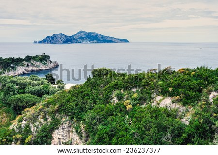 Beautiful Capri island in Italy, Naples - stock photo
