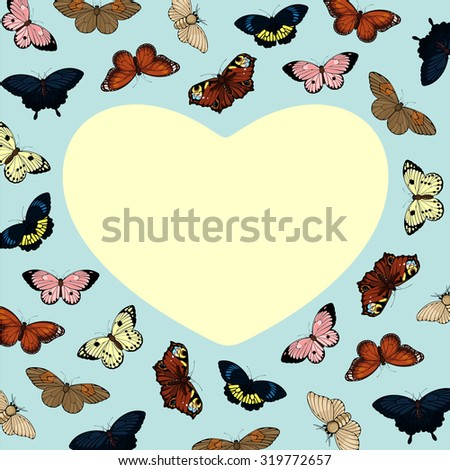 Beautiful card with cute colorful butterflies and heart-shaped place for your text or photo (raster version) - stock photo
