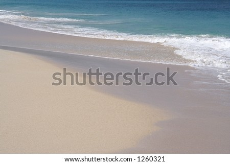 Beautiful caribbean beach with white sand - stock photo