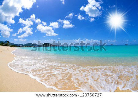 Beautiful Caribbean Island Beach - stock photo