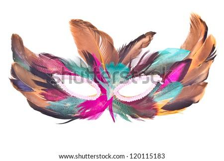 Beautiful carnival feather mask  isolated on white background - stock photo