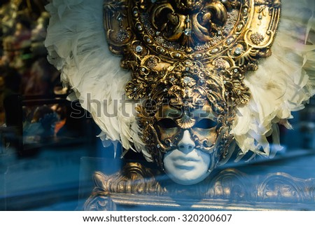 Beautiful carnival mask in shop window, Venice, Italy  - stock photo