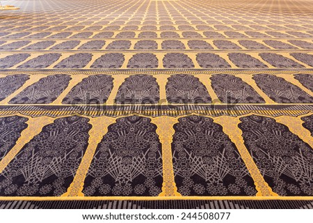 Beautiful carpet inside of the Grand Mosque in Kuwait City, Middle East - stock photo