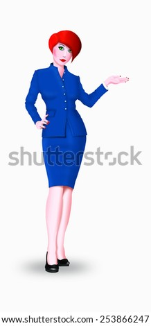 Beautiful cartoon style red hair business woman isolated on white background - stock photo