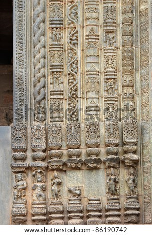 Beautiful carvings and designs on the frame of the main door, Sun Temple Konark - stock photo