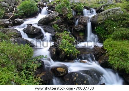 Beautiful Cascade falls in Switzerland - stock photo