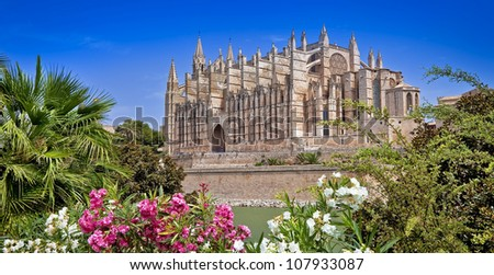 beautiful cathedral - main architectural landmark of Mallorca - stock photo