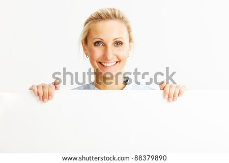 beautiful caucasian business woman in the office - stock photo