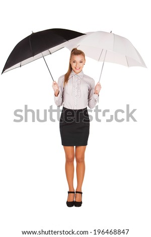 Beautiful caucasian business woman standing under umbrella. Isolated on white. - stock photo