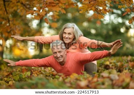 Beautiful caucasian elder  couple in the park in autumn - stock photo