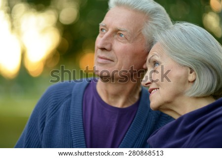 Beautiful caucasian elderly couple in the park - stock photo