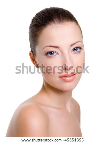 Beautiful caucasian female face with bright fashion makeup - stock photo