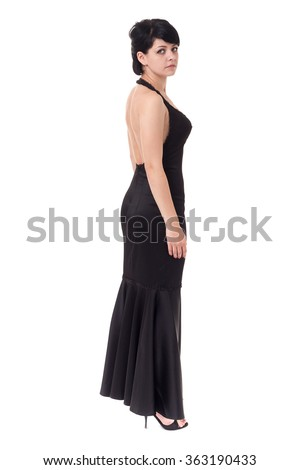 Beautiful caucasian model isolated on white background in full body. - stock photo