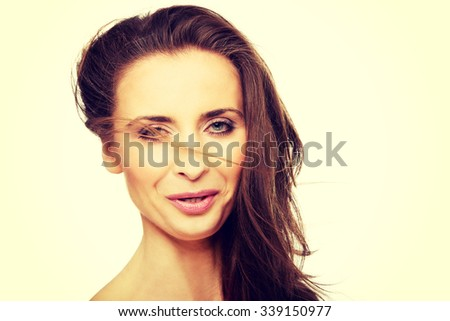 Beautiful caucasian spa woman with gorgeous hair. - stock photo