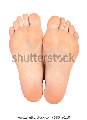 Beautiful caucasian woman feet. Isolated over white background - stock photo