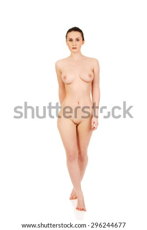 Beautiful caucasian woman with naked breast. - stock photo