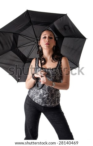 Beautiful caucasian woman with umbrella and attitude, isolated - stock photo