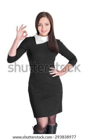 beautiful caucasian young woman showing OK gesture isolated on white background - stock photo