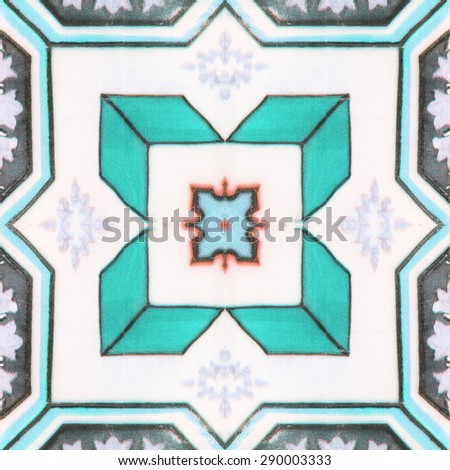 Beautiful ceramic tiles background patterns In the park public. - stock photo