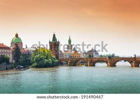 Beautiful Charles Bridge in Prague - stock photo