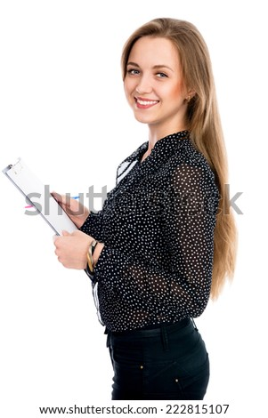 Beautiful cheerful business woman with tablet and pen for notes. Young business entrepreneur. Isolated on white background - stock photo
