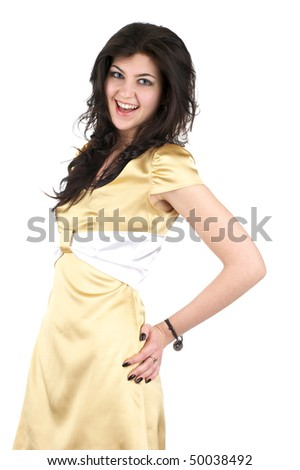 Beautiful cheerful woman in little yellow silk dress isolated over white background - stock photo